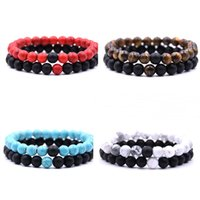 Wholesale natural hot stones - Hot sale Distance Bracelets for Lovers 2pcs set Natural Stone Beads Couple Bracelet Valentine's Day Jewelry