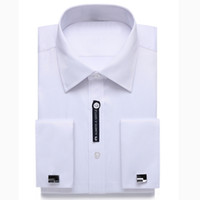 Wholesale Dress Size 18 Sleeves - Alimens & Gentle US Size French Cuff Mens Dress Shirt Long Sleeve Cufflink Include Plus Size 18.5 Neck 18 Neck 17.5 17