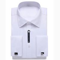 französisches manschettenmännerhemd großhandel-Almens Gentle US Größe Französisch Manschette Mens Dress Shirt Langarm Manschettenknopf Include Plus Größe 18,5 Hals 18 Hals 17,5 17