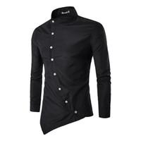 асимметричная мужская одежда оптовых-Мужская повседневная асимметричная рубашка тонкий личность с длинным рукавом рубашки лето стенд мужская хлопок Мужская одежда