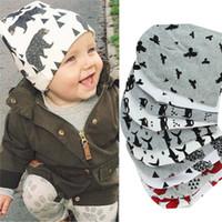 Wholesale knit cartoon beanies - Baby Cap Cartoon Animal Double Printting Cotton Knit Beanie Hats For Toddler Boy Girls Spring Autumn Winter Headwear 866291