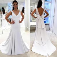 Wholesale design dress big size online - Plain Designed Pure White Simple Wedding Dresses Mermaid Backless Bridal Gowns with Big Bow Sash Romantic Robe de soriee