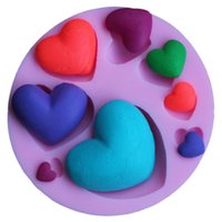 3d heart mold großhandel-3d herz liebe form silikon fondantform kuchen schokolade diy handgemachte formen umweltfreundliche küche backen requisiten valentinstag geschenk 2 7dy z