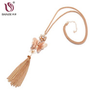 Wholesale costume butterfly for women for sale - Group buy DANZE Charm Simple Gold Color Hollow Butterfly Flower Alloy Tassel Chain Choker Necklace For Women Sweater Costume Accessories