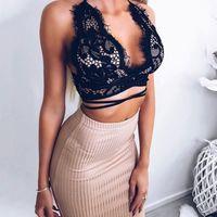 drahtlose sexy bhs großhandel-Sommer Frauen Sexy Floral Lace Wire Bra Tops Weibliche Top Nahtlose Transparente Tasse Wireless Bras Dessous