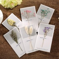 Wholesale glossy invitations - Creative Dried Flowers Invitation New Year Greeting Card Valentine's Day Card Thanksgiving Birthday Stationery Set Mothers Day Gifts