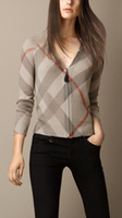 Wholesale Ladies Knit Neck Warmer - 2018 Women's V-neck Plaid Stripe Knitted Ladies' Sweater Knit Pullovers Jumper Tops Warm Thin Wool Woman Cardigan