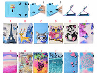 Wholesale cat tablet resale online - Universal Cartoon Leather Wallet Case For inch Tablet Samsung Galaxy Tab iPad Tablet PC Sea Butterfly Mandala Tower Cat Owl Cover