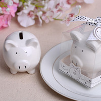 Wholesale polka dot party favors - 2018 Christening Baptism Gifts Ceramic Mini Piggy Bank Coin Box with Polka-Dot Bow Souvenirs Baby Shower Party Favors
