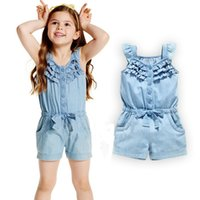 Wholesale Girls Denim Short Bow - Summer Girls Jumpsuit Children clothing Denim Color Ruffles Bow Jumpsuits Short sleeve Single-breasted Buttons Kids Clothes B11