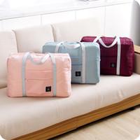 büyük fermuarlı çanta toptan satış-Moda Kadınlar Seyahat Bagaj Çantası Büyük Kapasiteli Katlanır Taşıma Duffle Çanta Katlanabilir Naylon Fermuar Su Geçirmez Seyahat Taşınabilir