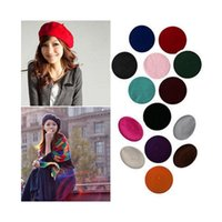 Wholesale French Red Beret - Womens Sweet Solid Warm Wool Winter Beret French Artist Beanie Hat Ski Cap Hat free shipping
