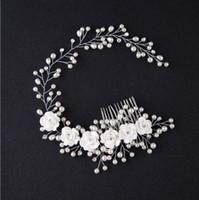 koreanische hochzeitsfotos großhandel-Koreanische Version der Braut, der handgemachten Perlenblume, des Haarfotostudios und des Make-upbrauthochzeitszubehör Stirnband