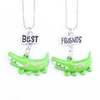 Wholesale charms crocodiles - 12pair lot best friends necklace silver tone beautiful cute crocodile charm BFF pendant necklace Children's day gift