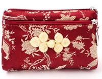 bolsas de almacenamiento de tela zip al por mayor-13x9 cm Tela de seda con cremallera Bolsas de embalaje de regalo Bolsas de almacenamiento de joyería vintage floral Nudo chino Monedero de seda
