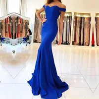 Wholesale perfect prom - Perfect Royal Blue Off Shoulder Mermaid Evening Dresses Fitted Bodice Party Formal Satin Long Prom Dress Pageant Gowns Robe De Soiree