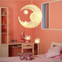 Wholesale Moon Pendant Lamp - Modern LED Chandelier Lighting Moon& Star Sweet Bedroom Pendant Lamp Lustre Hanging Fixtures Child kids room Decor Light Fitting