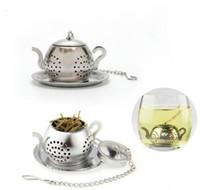 Wholesale teapot shape tea strainer - Stainless Steel Tea Infuser Teapot Tray Tea Strainer Teaware Accessories Kitchen Tools tea infuser Teapot Shape KKKA5573