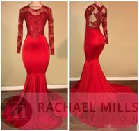 schwarze bling champagner prom kleider großhandel-2018 Vintage Sheer Long Sleeves Red Brautkleider Mermaid Applizierte Pailletten African Black Girls Abendkleider Red Carpet Dress