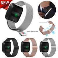 verriegelnder handgelenkstahl großhandel-Milanese Loop-Bügel-Handgelenk-Band-Wiedereinbau für Fitbit Versa / Versa 2 Edelstahl-Uhr-Band Magnetic Lock Armband