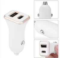 Wholesale chinese socket adapter resale online - Quick Charge Dual USB Type C Port PD Socket Fast White black Color Car Charger Power Adapter for iphone x