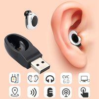 ingrosso nascondere cuffie auricolari bluetooth-Wireless Bluetooth 4.1 Hidden Earphone In Ear Auricolare Magnete Caricatore USB Cuffie vivavoce con microfono per smartphone