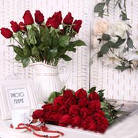 ingrosso rose gialle false-10 pz falsi fiori artificiali PU rose per le case festa in tavola matrimonio decorazioni natalizie regali rosso blu rosa bianco giallo 6.7