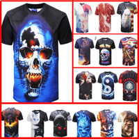 Wholesale cool eagles - 3d t shirt printed tshirt Men's women short sleeve casual t-shirt cool summer tops tees t shirt eagle lions cats Skull American flag fashion