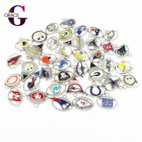 Wholesale silver charms resale online - Mixs Football Teams Sport Dangle Charms Enamel Floating Charms For DIY Sports Women Necklace Bracelet Jewelry