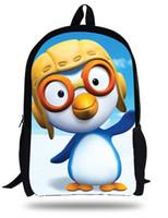 Wholesale cute penguin cartoons - Cute 16-inch Cartoon Little Penguin Pororo Backpack Children School Girls Printing Teenage Boys School Bags Mochilas Infantil