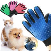 masaj köpek eldiveni toptan satış-Pet Kedi Eldiven Bakım Köpek Saç Kedi Saç Deshedding Kaldırma Temizleme Fırçası Masaj Araçları 4 Renkler