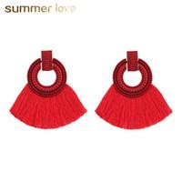Wholesale semi jewelry resale online - New Arrival Semi Circle Tassel Dangle Earring for Women Color Fan Shaped Bohemian Long Earring Fashion Jewelry