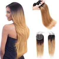 ombre saç 1b 27 toptan satış-Ön renkli Ham Hint Saç Kapatma ile 3 Demetleri 1b 27 Ombre Sarışın Düz İnsan Saç Kapatma 100% İnsan Saç ile Demetleri Örgüleri