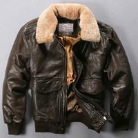 avirex vestes en cuir hommes achat en gros de-Avirex Fly Flight Jacket collier de fourrure véritable Veste en cuir homme noir brun peau de mouton Manteau Bomber Hiver Homme