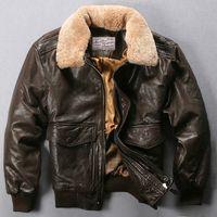 casacos marrons pretos venda por atacado-Avirex mosca Jacket Fur Collar Jacket de couro genuíno Homens Preto Brown pele de carneiro Brasão Bomber Inverno Masculino