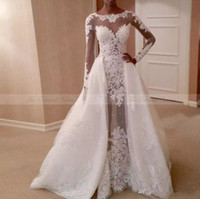 Wholesale wedding trails - 2018 Ivory Sheer Long Sleeves Wedding Dresses Lace Beaded with Detachable Trail Bridal Dresses Vestidos Plus Size Cheap Wedding Party Gowns