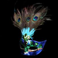mascaras de pavo real sexy al por mayor-Máscara de plumas de pavo real sexy mascarada mascarada veneciana Faux Diamond Dancing Party máscaras halloween media mascarillas AAA1262