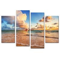 Wholesale wall decor panels beach - Drop Shipping HD Canvas Prints 4 panel seascape Beach Modern Home Wall Decor Canvas Painting living room wall pictures