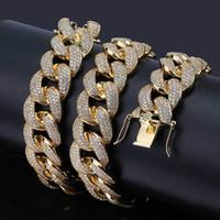 18mm silberne kette großhandel-18mm Herren Größe Miami kubanische Gliederkette Hip Hop Iced Out volle Zirkonia Halskette Gold Silber Farbe Hiphop Schmuck