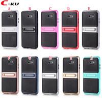 Wholesale white carbon fiber skin online - Stand Carbon Fiber Hybrid TPU PC Case For Samsung Galaxy J3 J5 J7 US Version Fashion Hard Phone Dual Color Skin Cover
