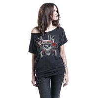 Wholesale female skull shirts - Womens Clothing Spring Summer T-shirts Casual Short Sleeved Tops With Skull Rose Printed Loose Tees Female Tshirts