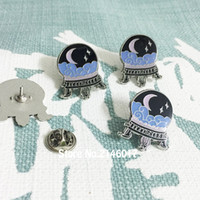 Wholesale wholesale witch balls online - 10pcs Halloween Lapel Pins Metal Craft Crystal Ball Soft Enamel Pin Mystic Occult Spooky Witch Fortune Telling Brooch