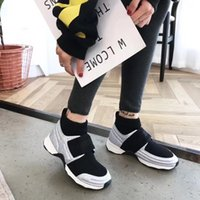 Wholesale black magic designs - New Year Autumn Hot Sale American trend Class Design Elasticity Shoe Collar Casual Shoes Personalized Magic Buckle Sneakers Athletic Running