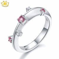 joyas de plata esterlina rosa anillo al por mayor-Hutang anillo de bodas de piedras preciosas rosa turmalina blanca topacio de piedras preciosas de plata de ley 925 hermoso diseño de piedra fina joyería