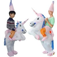 Wholesale dress up supplies resale online - Inflatable Unicorn Costume Blow Up Suit Birthday Dress Cosplay Outfit Adult Kids Party Unicorn Costume Party Supplies CCA10490