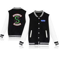 Wholesale gray baseball uniforms - Riverdale Spring Autumn Fashion hip hop streetwear Riverdale SouthSide Mens Baseball Jacket Uniform men outerwear coats 4XL