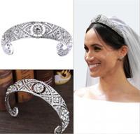 Wholesale austrian crown resale online - Luxury Austrian Crystals CZ Meghan Princess Wedding Bridal Tiara Crown Hair Accessories Bride Silver Headband Fshion Jewelry