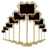 ingrosso tavolo a forma di cuore-Creativo in legno Hollow ovale a forma di cuore Mini lavagna lavagna in legno su supporto Stick Stand Numero tavolo Decorazione parti di nozze