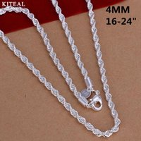 CN4 2mm 4mm 16 18 20 22 24 Twist Rope chain necklace,Wholesale Fashion jewelry 925 stamp silver jewelry necklaces for men women