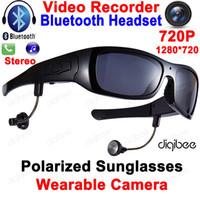 гарнитура dvr оптовых-Cool Smart Polarized Sunglasses Bluetooth Headset with Microphone Glasses Camera HD 720P Digital Video Recorder OTG Mini DV DVR